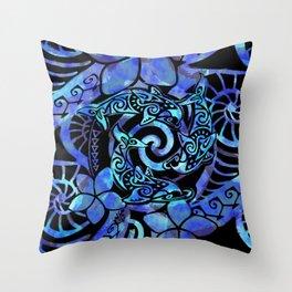 Tribal Dolphins Tie Dye Throw Pillow
