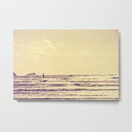 Kite Surfing, Newquay, Cornwall. Metal Print