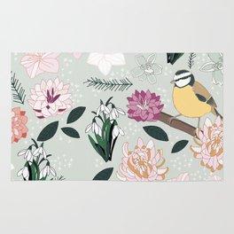 Joyful winter muted floral pattern with bird Rug
