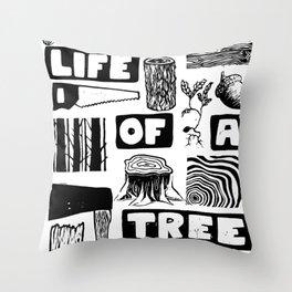 Life of a Tree Lino Print Throw Pillow