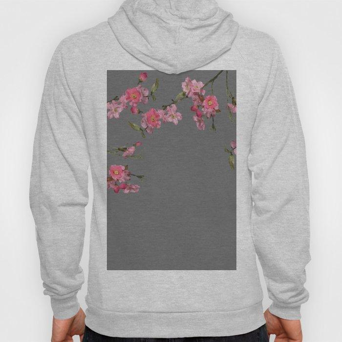 Cherry Flowers grey background Hoody