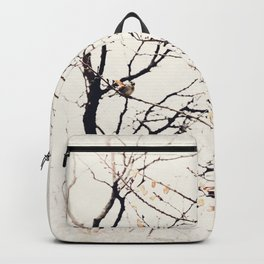 House Sparrows in Tree Branches Stylized Minimalist Nature Backpack