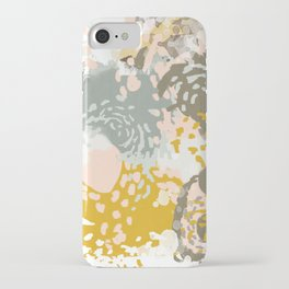 Hutton - Modern abstract painting for home decor and cell phone cases in gold grey mint white iPhone Case