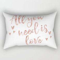 All you need is love - rose gold and hearts Rectangular Pillow