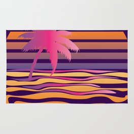 Retro striped sun and palm Rug