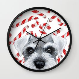 Winter limited edition. Grey Schnauzer with Candy cane by miat Wall Clock