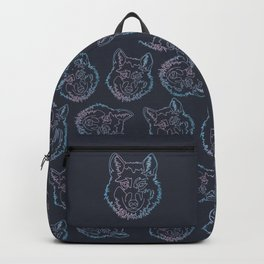 Vector wolf in one line Backpack
