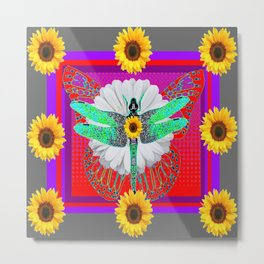 GREEN DRAGONFLY FLORAL RED & PURPLE Metal Print