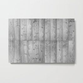 Wood Planks in black and white Metal Print