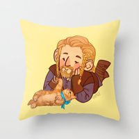 fili Throw Pillows featuring Fili and Kitten by Hattie Hedgehog