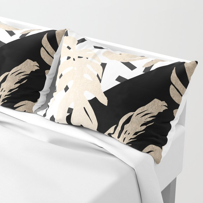 Simply Tropical Midnight Black Memphis Palm Leaves Pillow Sham