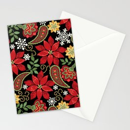 Christmas Poinsettia Paisley Stationery Cards
