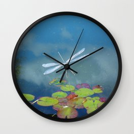 Silver Dragonfly. Wall Clock