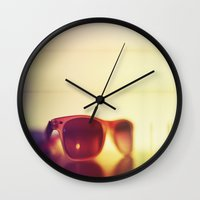 sunglasses Wall Clocks featuring Sunglasses by Marko