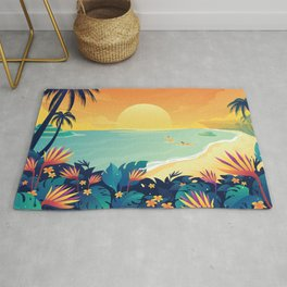 Sunset Beach Illustration Rug