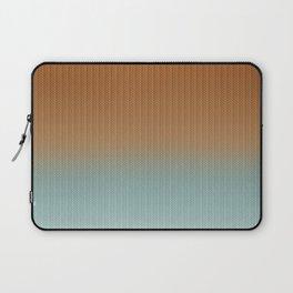 Light Rust and Turquoise Graphic Herringbone Weave Pattern Laptop Sleeve