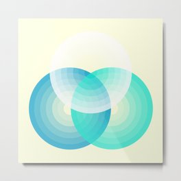 Three colour circles inverted, inspired by Lacouture's Répertoire chromatique Metal Print