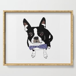 Boston Terrier with a tie Serving Tray