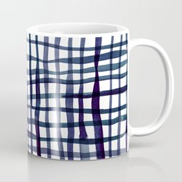 Watercolor doodle gingham - indigo Coffee Mug