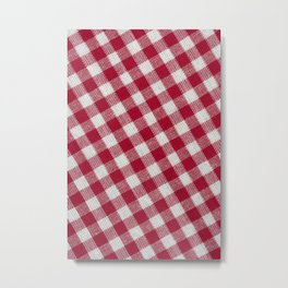 Red classic checkered tablecloth texture Metal Print