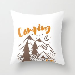 Live the Camping Life, Tent Camper Throw Pillow