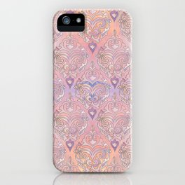 Persian Oriental Rose Marble and Silver iPhone Case