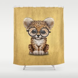 Cute Baby Leopard Cub Wearing Glasses on Yellow Shower Curtain