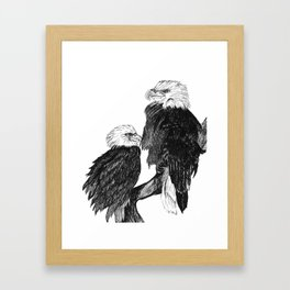 Bald Eages Ink Drawing Framed Art Print