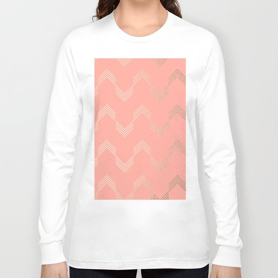 Simply Deconstructed Chevron White Gold Sands on Salmon Pink Long Sleeve T-shirt