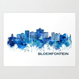 Bloemfontein South Africa Skyline Blue Art Print