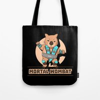the mortal instruments Tote Bags featuring Mortal Wombat by Sombras Blancas Art & Design