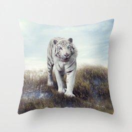 White Tiger Walking in the Grassland Throw Pillow