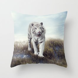 White Tiger Walking in the Grassland Throw Pillow