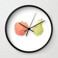best friends Wall Clocks featuring Best Friends by Benjamin Flouw