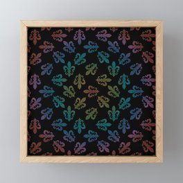 FLEUR DE LIS - seamless pattern black rainbow Framed Mini Art Print
