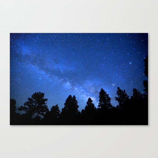 Milky Way (Black Trees Blue Space) Canvas Print