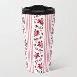 Vintage Floral Stripes - Coral Rose Travel Mug