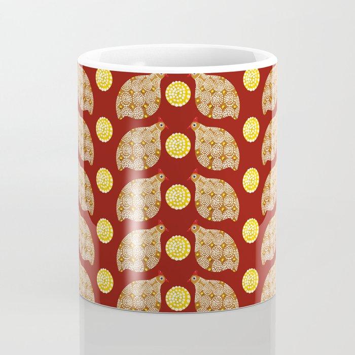 Glod guinea fowl pattern on brown Coffee Mug