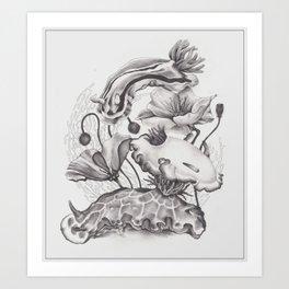 Nudibranchs & Poppies Art Print