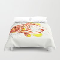 goldfish Duvet Covers featuring goldfish by withapencilinhand