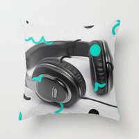 headphones Throw Pillows featuring Headphones by Oliver Green