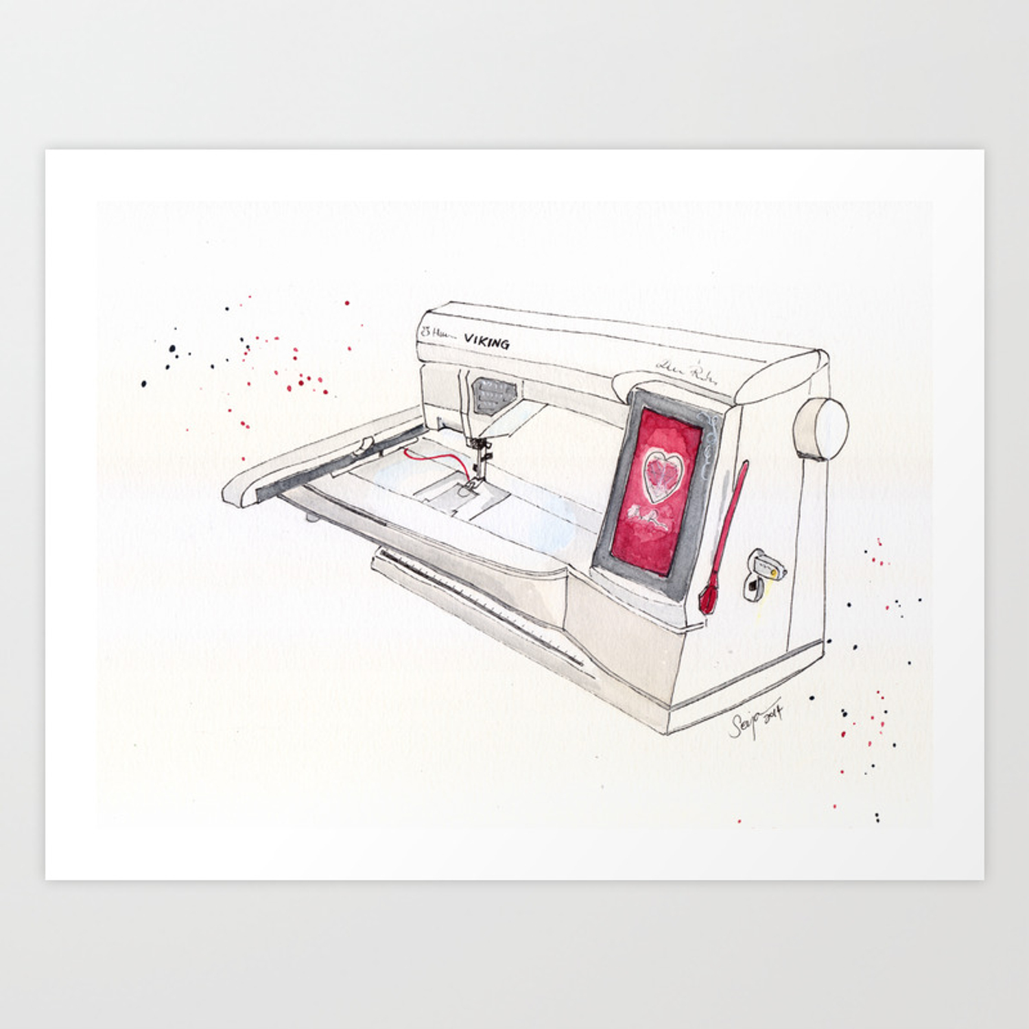 Viking Embroidery Sewing Machine Art Print By Artisania Society6