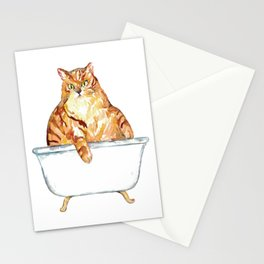 SPA Cat tabby Painting Wall Poster Watercolor Stationery Cards
