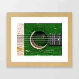 Old Vintage Acoustic Guitar with Pakistani Flag Framed Art Print