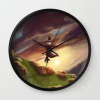 studio ghibli Wall Clocks featuring Studio Ghibli - Howl's Moving Castle by BBANDITT