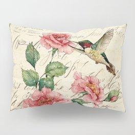 Vintage Roses Print Hummingbird Art Love Quote Rustic Decor Valentine Gift Pillow Sham
