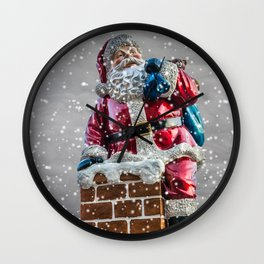 Santa On The Chimney Wall Clock