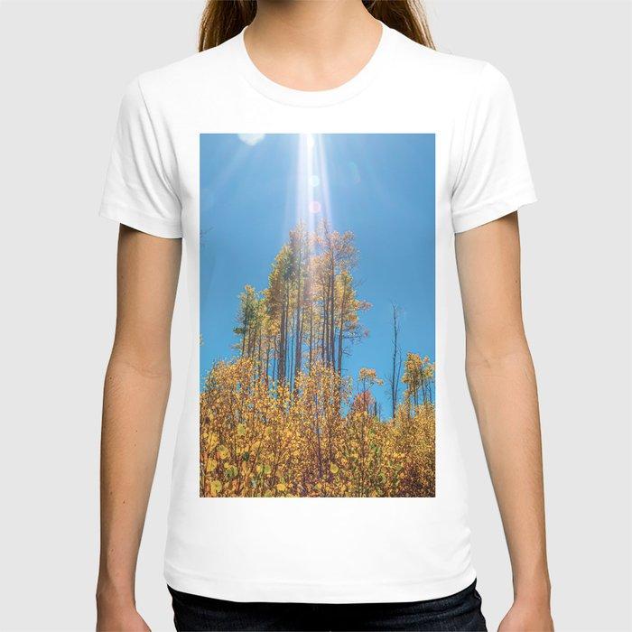 Sunlight Beam // Backpacking Hike through the Aspen Trees in Autumn T-shirt