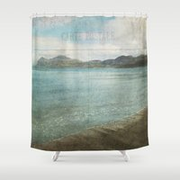 postcard Shower Curtains featuring Postcard from the Seaside by Sarah Jarrett Art