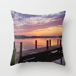 Sunset at Denbigh Pier Throw Pillow